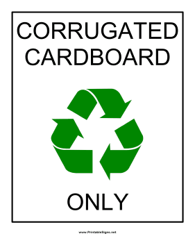 Corrugated Cardboard Recyclables Sign