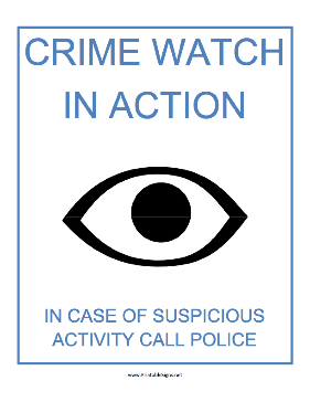 Crime Watch in Action Sign