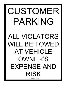 Customer Parking Tow Warning Sign