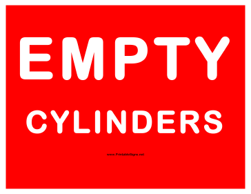 Cylinders Empty Cylinders Sign