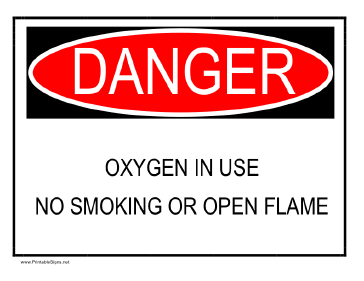 Danger - Oxygen In Use Sign