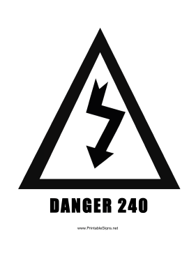 Danger 240 Voltage Sign