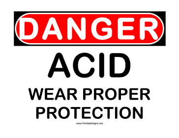 Danger Acid Wear Protection Sign