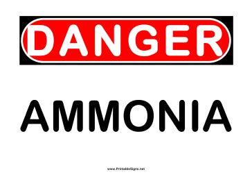 Danger Ammonia Sign