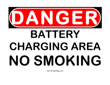 Danger Battery Charging Area 2 Sign