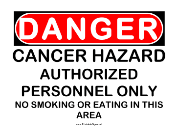 Danger Cancer Hazard Sign