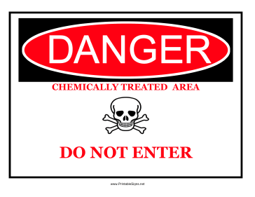 Danger Chemically Treated Sign