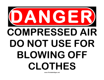 Danger Compressed Air 2 Sign