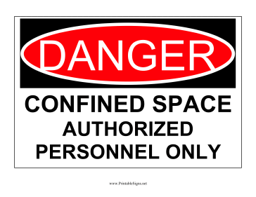 Danger Confined Space Authorized Personnel Sign