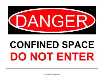 Danger Confined Space Sign Sign