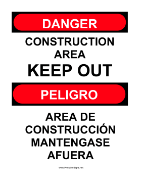 Construction Area Bilingual Sign