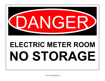 Danger Electric Meter Room Sign