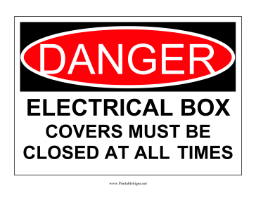 Danger Electrical Box Sign