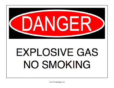 No Smoking Explosive Gas Sign