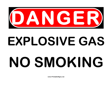 Danger Explosive Gas 2 Sign