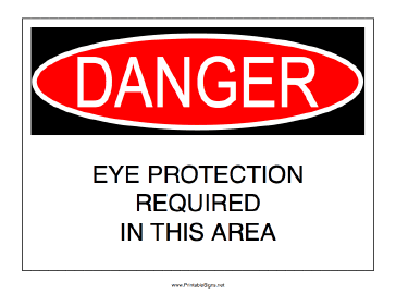 Eye Protection Required In Area Sign