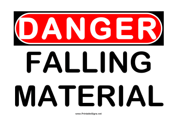 Danger Falling Material Sign