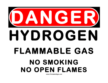 Danger Flammable Gas Hydrogen Sign