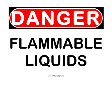 Danger Flammable Liquids Sign