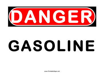 Danger Gasoline 2 Sign