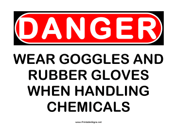 Danger Gloves and Goggles Sign