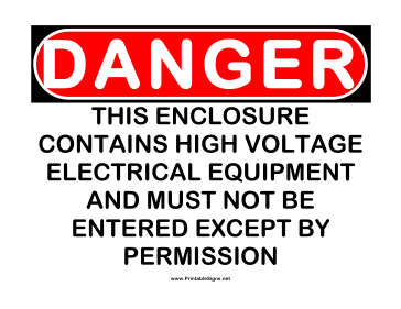 Danger HV Electrical Equipment Sign