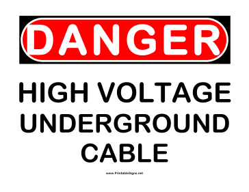 Danger HV Underground Cable Sign