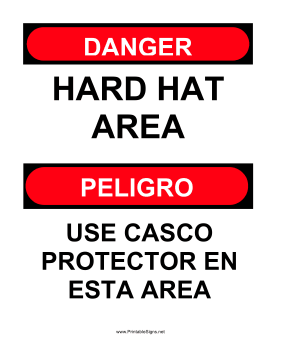 Hard Hat Area Bilingual Sign