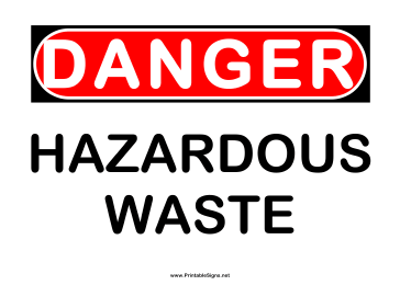 Danger Hazardous Waste Sign