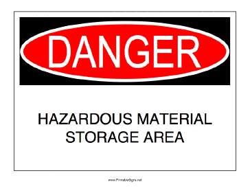 Hazardous Material Storage Sign
