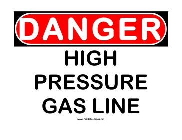 Danger High Pressure Gas Sign