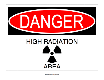 High Radiation Area Sign