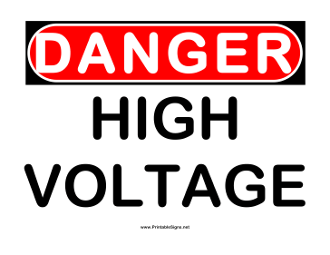 Danger High Voltage 2 Sign