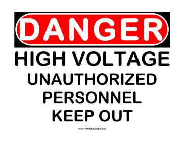 Danger High Voltage UA Sign