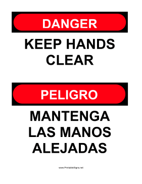 Keep Hands Clear Bilingual Sign