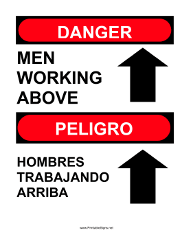 Men Working Above Bilingual Sign