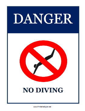 Danger No Diving Sign