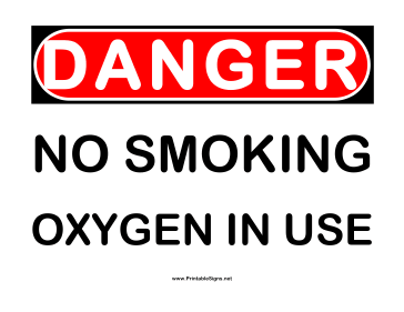 Danger No Smoking Oxygen in Use Sign