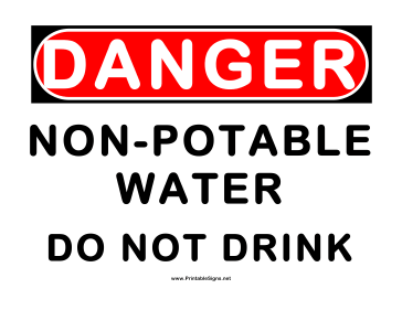 Danger Non Potable Water Sign