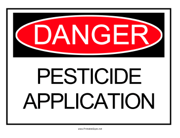 Danger Pesticide Application Sign