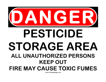 Danger Pesticide Storage Sign