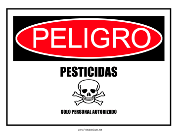 Danger Pesticides-Spanish Sign
