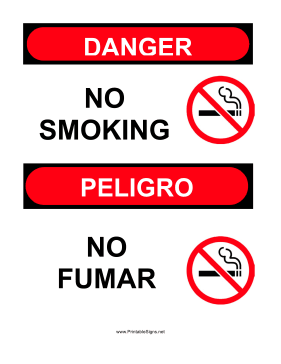 Sign No Smoking Bilingual Sign