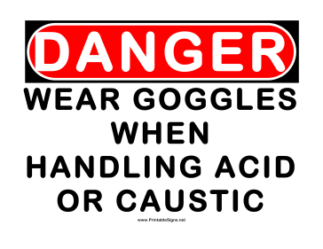 Danger Wear Goggles While Handling Caustic Sign