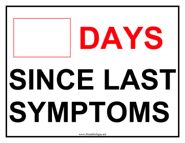 Days Since Symptoms Sign Sign