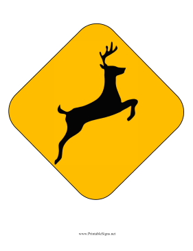 Deer Crossing Caution Sign