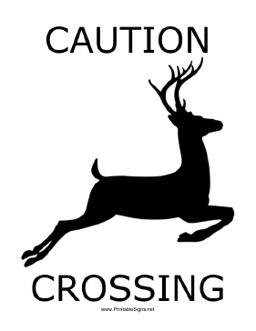 Deer Crossing with caption Sign