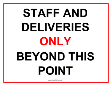 Deliveries Only Sign Sign