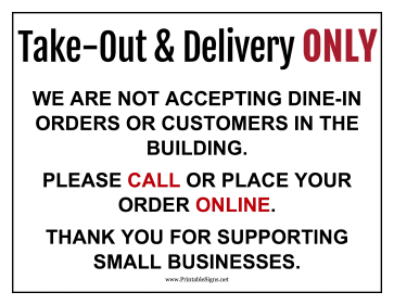 Delivery Only Sign