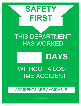Department Accident Record Sign